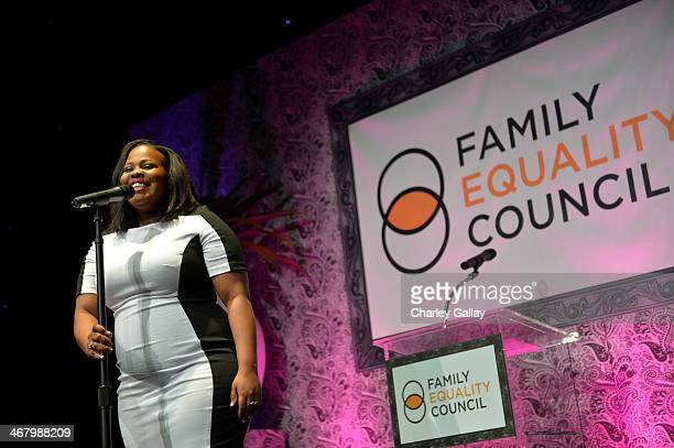 Singeractress Amber Riley performs at Family Equality Council's annual Los Angeles awards dinner at The Globe Theatre on February 8 2014 in Universal...
