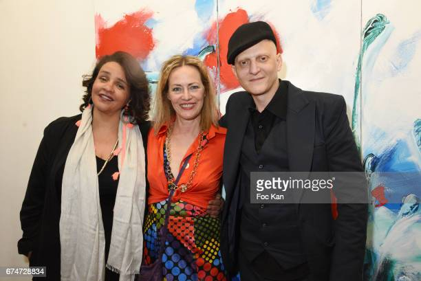 Singer/actress Amina Annabi Gabrielle Lazure and Ali Mahdavi attend Gabrielle Lazure 'Sixteen' Birthday Party at Galerie 18 Bis on April 28 2017 in...
