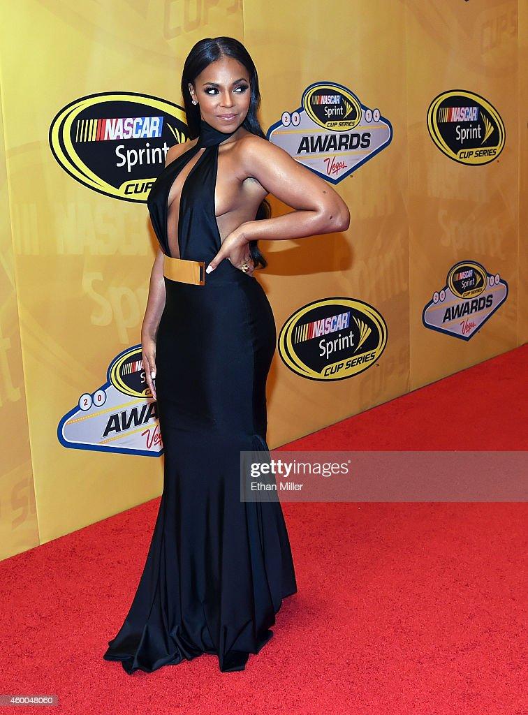 Singer/actress Ashanti arrives at the 2014 NASCAR Sprint Cup Series Awards at Wynn Las Vegas on December 5 2014 in Las Vegas Nevada