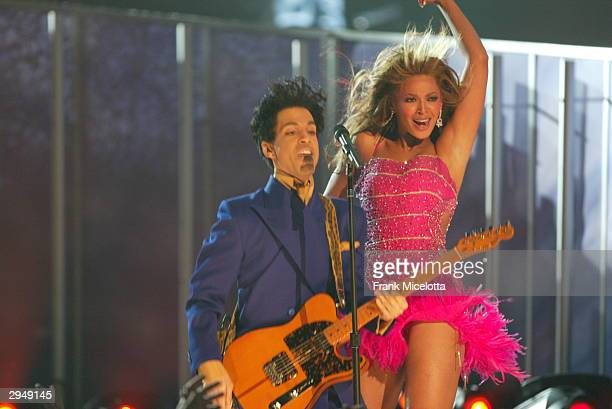 Singer/actress Beyonce Knowles and Musician Prince perform at the 46th Annual Grammy Awards held at the Staples Center on February 8 2004 in Los...