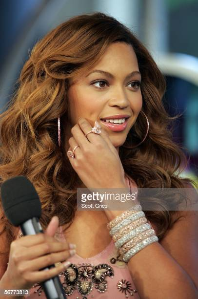 Singer/actress Beyonce Knowles appears onstage during MTV's Total Request Live at the MTV Times Square Studios on February 7 2006 in New York City