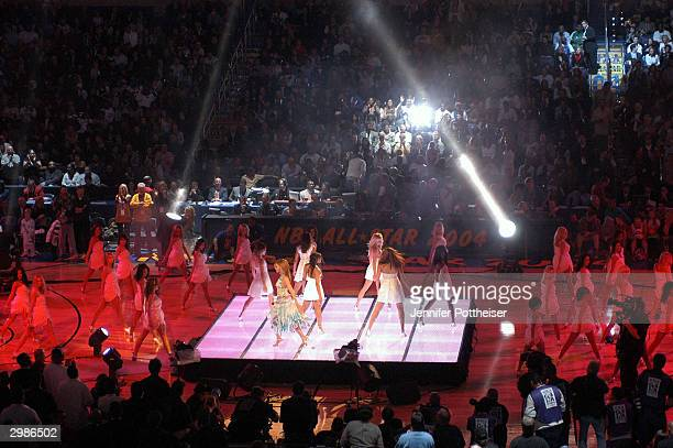 Singer/actress Beyonce Knowles performs during halftime of the 2004 NBA AllStar Game February 15 2004 at the Staples Center in Los Angeles California...