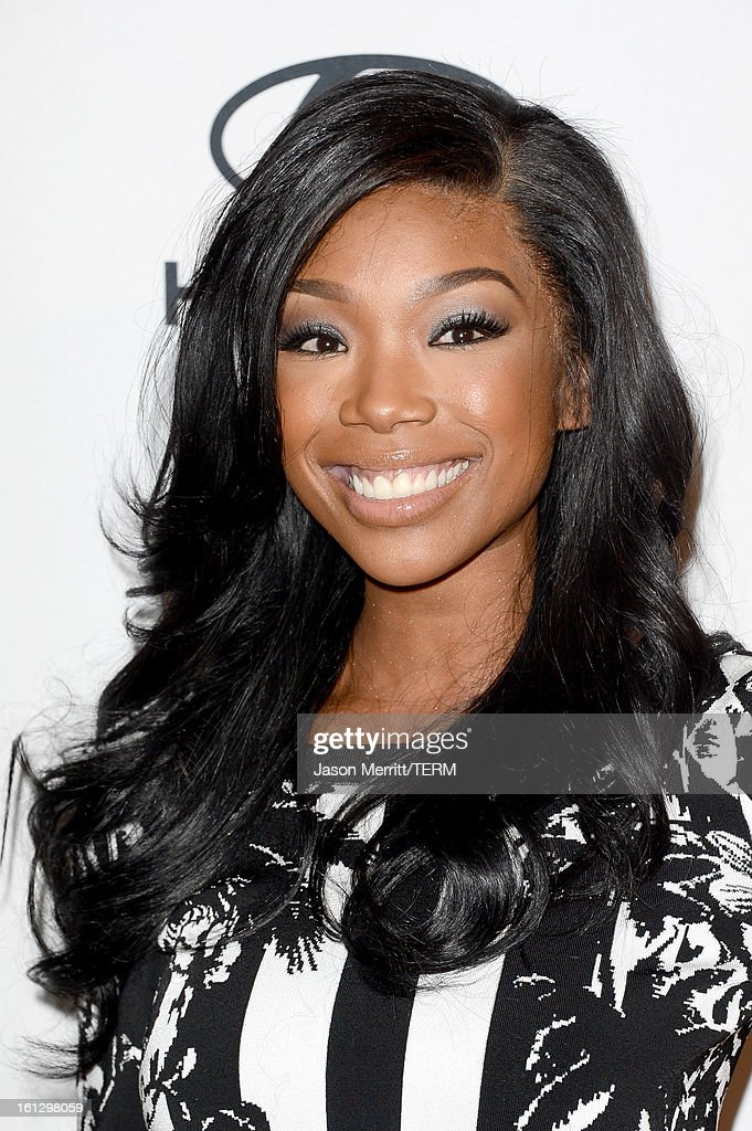 Singer/actress Brandy arrives at Clive Davis The Recording Academy's 2013 PreGRAMMY Gala and Salute to Industry Icons honoring Antonio 'LA' Reid at...