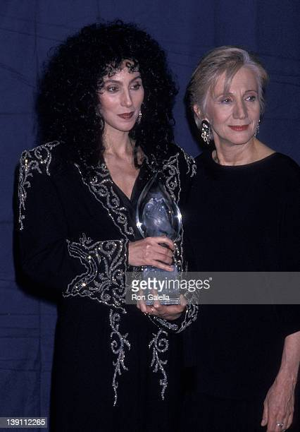 Singer/Actress Cher and actress Olympia Dukakis attend the 15th Annual People's Choice Awards on March 12 1989 at Walt Disney Studios in Burbank...