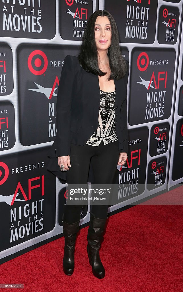 Singer/actress <a gi-track='captionPersonalityLinkClicked' href=/galleries/search?phrase=Cher+-+Artist&family=editorial&specificpeople=203036 ng-click='$event.stopPropagation()'>Cher</a> arrives on the red carpet for Target Presents AFI's Night at the Movies at ArcLight Cinemas on April 24, 2013 in Hollywood, California.