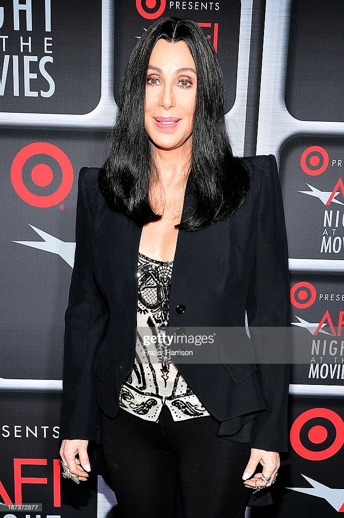 Singer/actress <a gi-track='captionPersonalityLinkClicked' href=/galleries/search?phrase=Cher+-+K%C3%BCnstlerin&family=editorial&specificpeople=203036 ng-click='$event.stopPropagation()'>Cher</a> arrives on the red carpet for Target Presents AFI's Night at the Movies at ArcLight Cinemas on April 24, 2013 in Hollywood, California.
