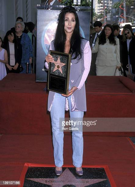 Singer/Actress Cher attends the Hollywood Walk of Fame Star Ceremony Honoring Sonny and Cher on May 15 1998 at 7018 Hollywood Boulevard in Hollywood...