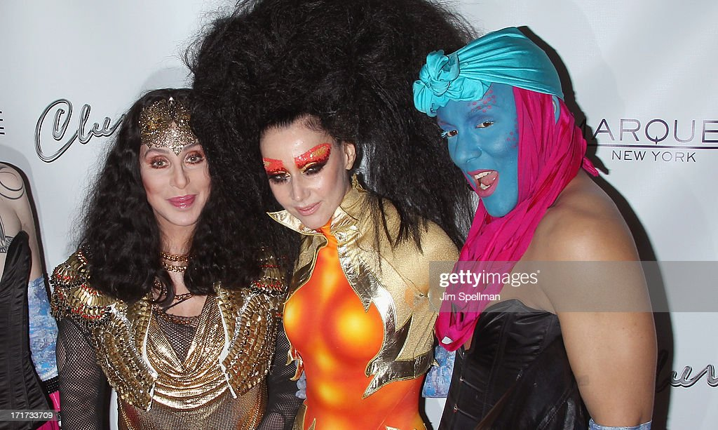 Singer/actress Cher, event producer <a gi-track='captionPersonalityLinkClicked' href=/galleries/search?phrase=Susanne+Bartsch&family=editorial&specificpeople=783313 ng-click='$event.stopPropagation()'>Susanne Bartsch</a> and a drag queen attend Q Thursdays at Marquee on June 27, 2013 in New York City.