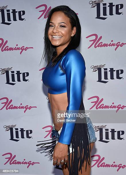 Singer/actress Christina Milian arrives at the Go Pool at Flamingo Las Vegas on August 8 2015 in Las Vegas Nevada