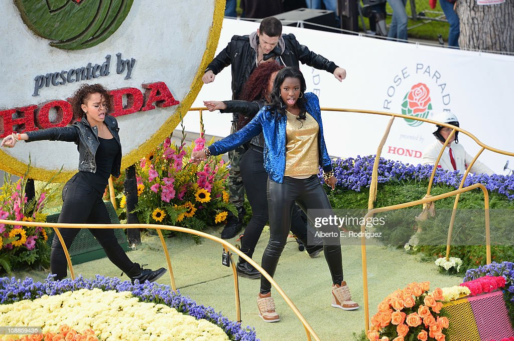 Singer/actress Coco Jones (in gold) participates in the 124th Tournamernt of Roses Parade on January 1, 2013 in Pasadena, California.