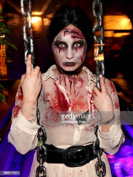 Singer/actress Demi Lovato attends her Halloween Party at the PhilyMack Management Building on October 31 2013 in West Hollywood California
