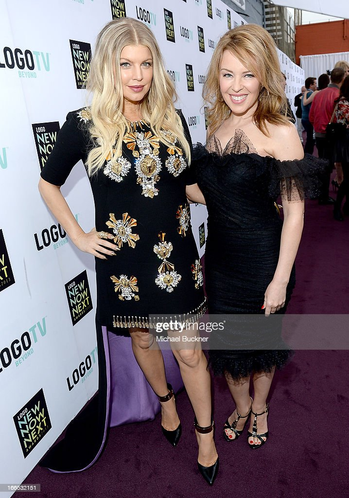 Singer/actress Fergie (L) and singer <a gi-track='captionPersonalityLinkClicked' href=/galleries/search?phrase=Kylie+Minogue&family=editorial&specificpeople=201671 ng-click='$event.stopPropagation()'>Kylie Minogue</a> attend the 2013 NewNowNext Awards at The Fonda Theatre on April 13, 2013 in Los Angeles, California.