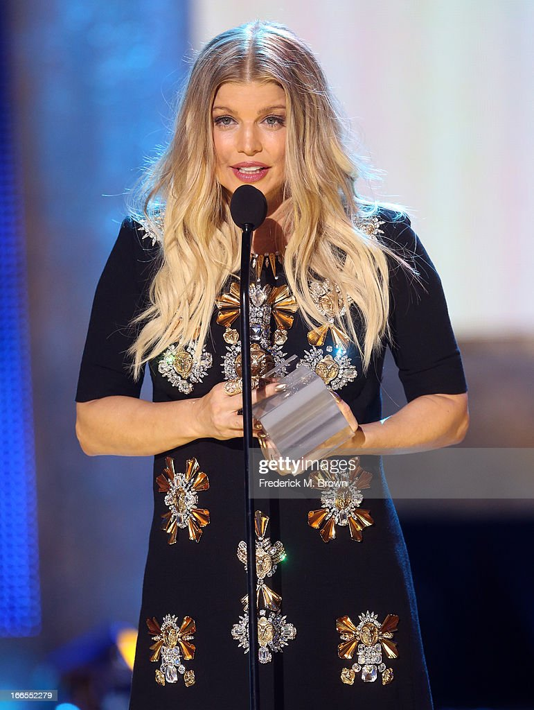 Singer/actress Fergie speaks onstage during the 2013 NewNowNext Awards at The Fonda Theatre on April 13, 2013 in Los Angeles, California.