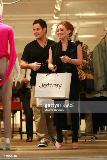 Singer/actress Hilary Duff and beau hockey player Mike Comrie sighting shopping at Jeffrey's department store in the Meat Packing District September...