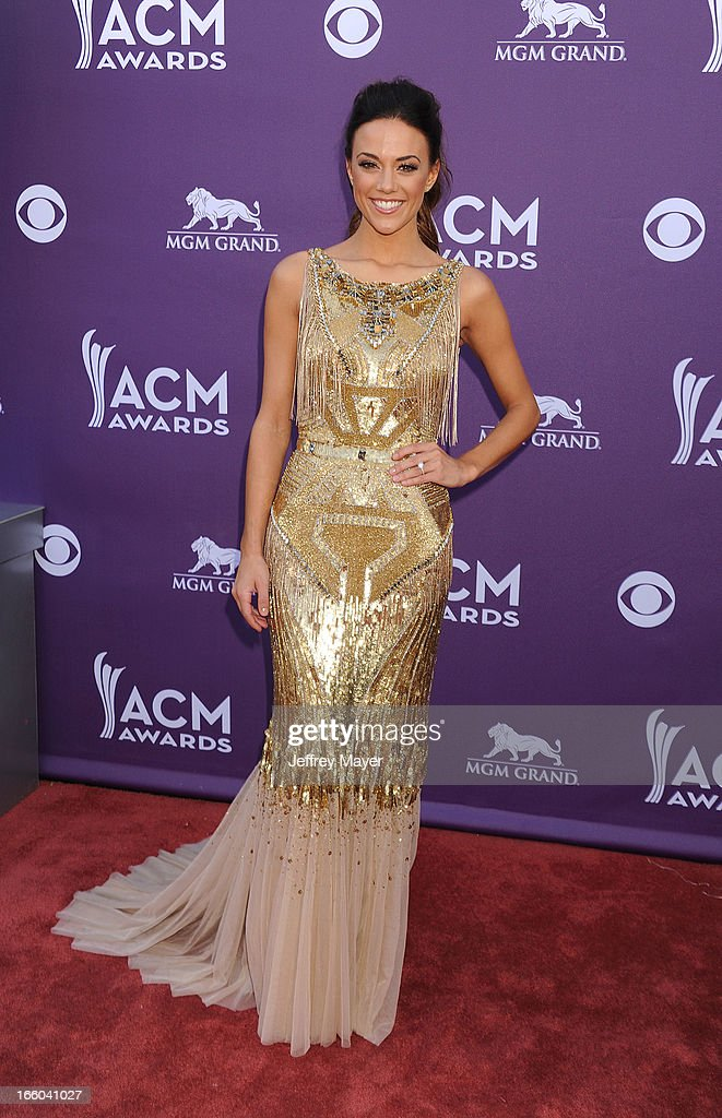 Singer/actress Jana Kramer arrives at the 48th Annual Academy of Country Music Awards at MGM Grand Garden Arena on April 7, 2013 in Las Vegas, Nevada.