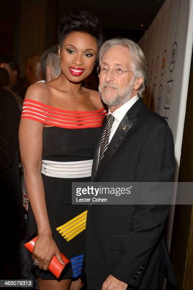 Singer/actress Jennifer Hudson and The Recording Academy President/CEO Neil Portnow attend the 56th annual GRAMMY Awards PreGRAMMY Gala and Salute to...