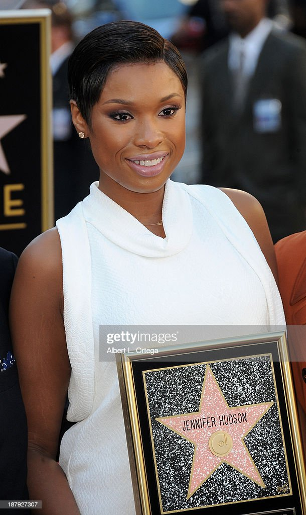 Singer/actress <a gi-track='captionPersonalityLinkClicked' href=/galleries/search?phrase=Jennifer+Hudson&family=editorial&specificpeople=234833 ng-click='$event.stopPropagation()'>Jennifer Hudson</a> Honored On The Hollywood Walk Of Fame on November 13, 2013 in Hollywood, California.