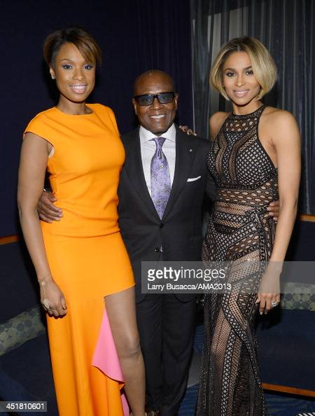 Singer/Actress Jennifer Hudson record producer Antonio 'LA' Reid and singer Ciara attend the 2013 American Music Awards at Nokia Theatre LA Live on...