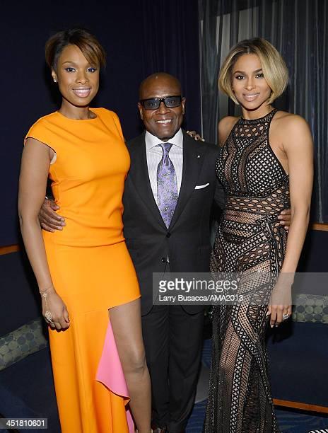 Singer/Actress Jennifer Hudson record producer Antonio 'LA' Reid and singer Ciara attend the 2013 American Music Awards at Nokia Theatre LA Live on...