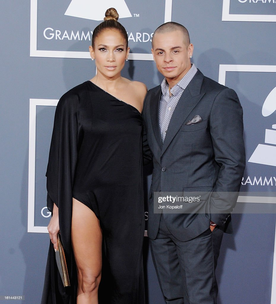 Singer/Actress Jennifer Lopez and Casper Smart arrive at The 55th Annual GRAMMY Awards at Staples Center on February 10, 2013 in Los Angeles, California.