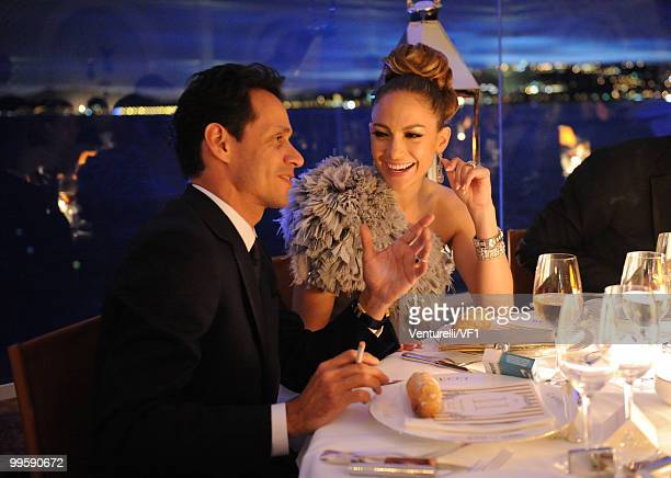 CANNES FRANCE MAY 15 Singer/actress Jennifer Lopez and husband singer Marc Anthony attends the Vanity Fair and Gucci Party Honoring Martin Scorsese...