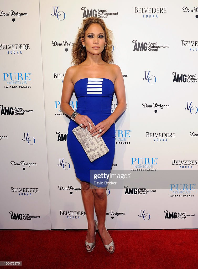 Singer/actress <a gi-track='captionPersonalityLinkClicked' href=/galleries/search?phrase=Jennifer+Lopez&family=editorial&specificpeople=201784 ng-click='$event.stopPropagation()'>Jennifer Lopez</a> arrives at a post concert party at the Pure Nightclub at Caesars Palace early August 19, 2012 in Las Vegas, Nevada.