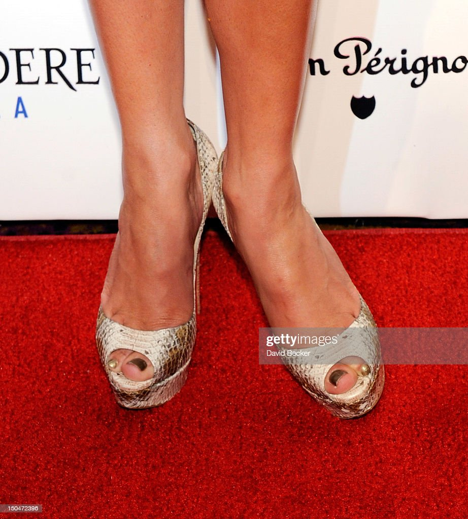 Singer/actress <a gi-track='captionPersonalityLinkClicked' href=/galleries/search?phrase=Jennifer+Lopez&family=editorial&specificpeople=201784 ng-click='$event.stopPropagation()'>Jennifer Lopez</a> (shoe detail) arrives at a post concert party at the Pure Nightclub at Caesars Palace early August 19, 2012 in Las Vegas, Nevada.