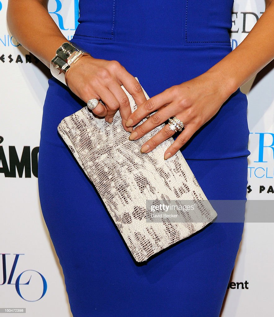 Singer/actress Jennifer Lopez (purse detail) arrives at a post concert party at the Pure Nightclub at Caesars Palace early August 19, 2012 in Las Vegas, Nevada.