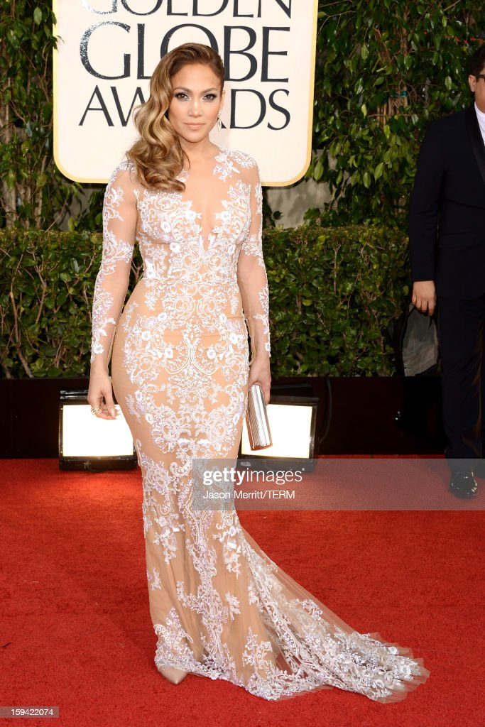 Singer-actress <a gi-track='captionPersonalityLinkClicked' href=/galleries/search?phrase=Jennifer+Lopez&family=editorial&specificpeople=201784 ng-click='$event.stopPropagation()'>Jennifer Lopez</a> arrives at the 70th Annual Golden Globe Awards held at The Beverly Hilton Hotel on January 13, 2013 in Beverly Hills, California.