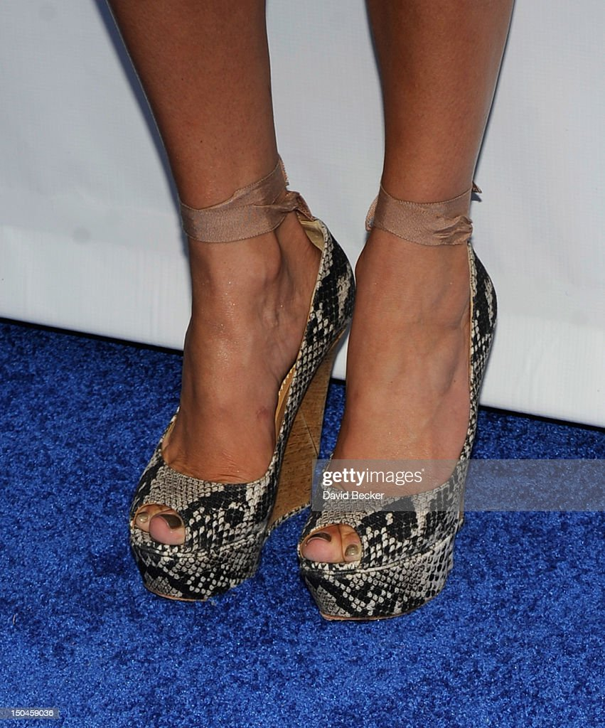 Singer/actress Jennifer Lopez (shoe detail) arrives for an appearance at the Wet Republic pool at the MGM Grand Hotel/Casino on August 18, 2012 in Las Vegas, Nevada.