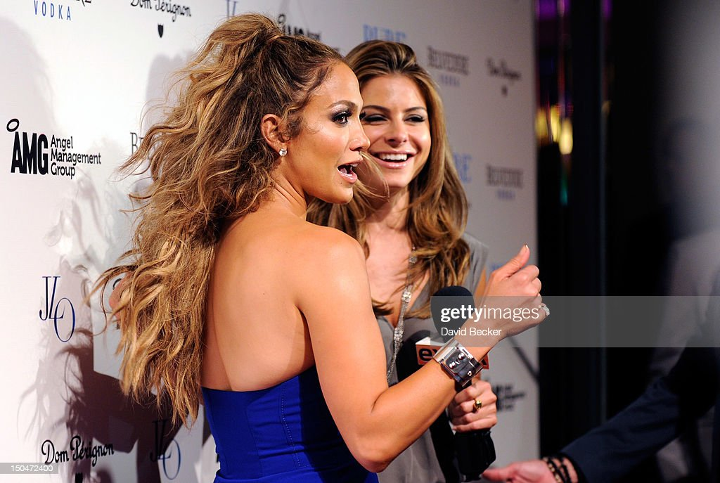 Singer/actress <a gi-track='captionPersonalityLinkClicked' href=/galleries/search?phrase=Jennifer+Lopez&family=editorial&specificpeople=201784 ng-click='$event.stopPropagation()'>Jennifer Lopez</a> (L) is interviewed by TV personality <a gi-track='captionPersonalityLinkClicked' href=/galleries/search?phrase=Maria+Menounos&family=editorial&specificpeople=203337 ng-click='$event.stopPropagation()'>Maria Menounos</a> as she arrives at a post concert party at the Pure Nightclub at Caesars Palace early August 19, 2012 in Las Vegas, Nevada.