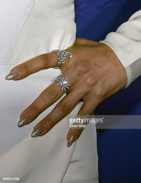 Singer/actress Jennifer Lopez jewelry detail attends the after party for her residency 'JENNIFER LOPEZ ALL I HAVE' and the grand opening of MR CHOW...