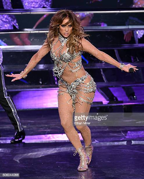 Singer/actress Jennifer Lopez performs during the launch of her residency 'JENNIFER LOPEZ ALL I HAVE' at The Axis at Planet Hollywood Resort Casino...