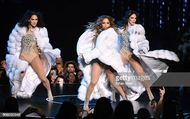 Singer/actress Jennifer Lopez performs with dancers during the launch of her residency 'JENNIFER LOPEZ ALL I HAVE' at The Axis at Planet Hollywood...