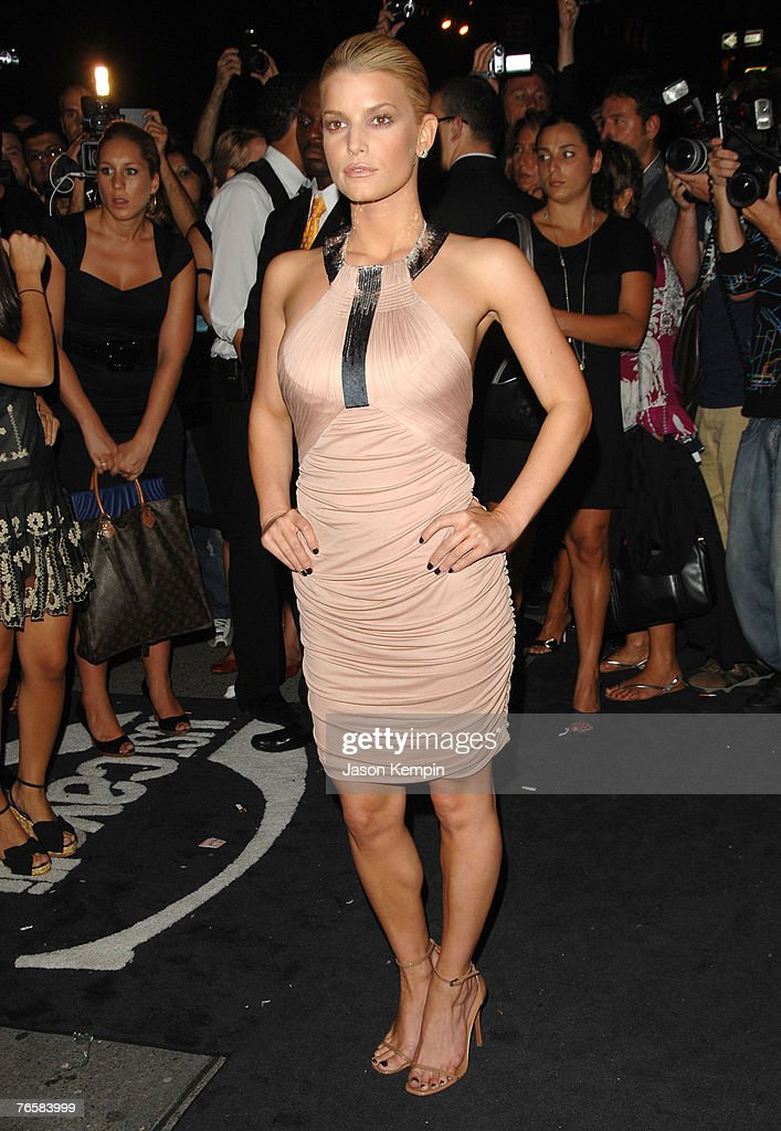 Singer/actress Jessica Simpson arrives at the grand opening of fashion designer Roberto Cavalli's 'Just Cavalli' store on September 7 2007 in New...