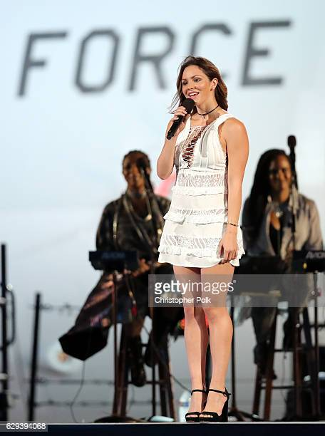 Singer/actress Katharine McPhee speaks onstage during 'Spike's Rock the Troops' event held at Joint Base Pearl Harbor Hickam on October 22 2016 in...