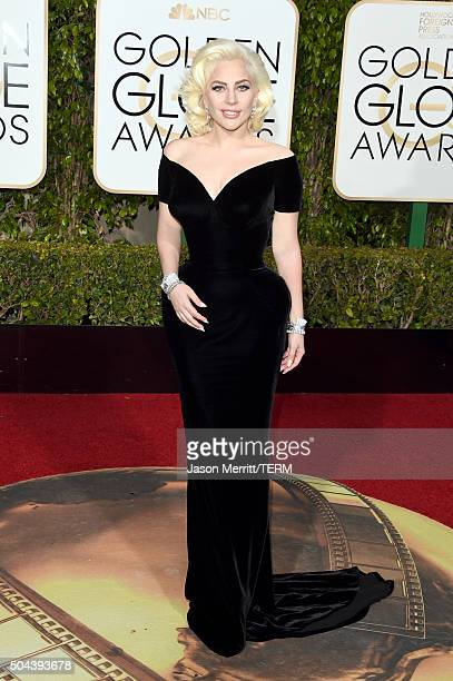 Singer/actress Lady Gaga attends the 73rd Annual Golden Globe Awards held at the Beverly Hilton Hotel on January 10 2016 in Beverly Hills California