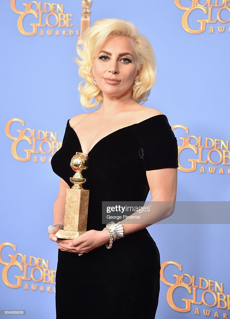 Singer/actress Lady Gaga, winner of the award for Best Performance by an Actress in a Limited Series or a Motion Picture Made for Television for 'American Horror Story: Hotel,' poses in the press room during the 73rd Annual Golden Globe Awards held at the Beverly Hilton Hotel on January 10, 2016 in Beverly Hills, California.
