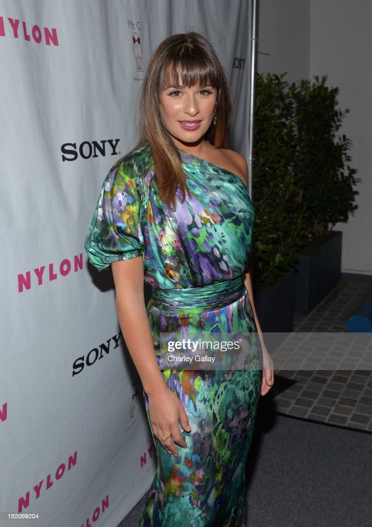 Singer/actress Lea Michele arrives at the NYLON and Sony X Headphones September TV issue launch event with cover star, Lea Michele at Mr. C Beverly Hills on September 15, 2012 in Beverly Hills, California.