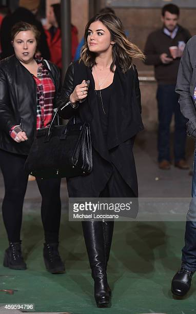 Singer/actress Lucy Hale takes part in the 88th Annual Macy's Thanksgiving Day Parade day 2 rehearsals on November 25 2014 in New York City