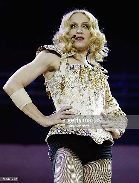 Singer/actress Madonna performs onstage during the opening night of her 'ReInvention' World Tour 2004 at The Great Western Forum May 26 2004 in...
