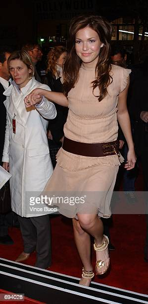 Singeractress Mandy Moore attends the premiere of the film 'A Walk To Remember' January 23 2002 at the Chinese Theatre in Hollywodd CA