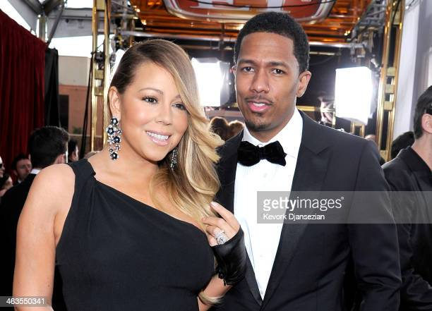 Singeractress Mariah Carey and TV personality Nick Cannon attend the 20th Annual Screen Actors Guild Awards at The Shrine Auditorium on January 18...