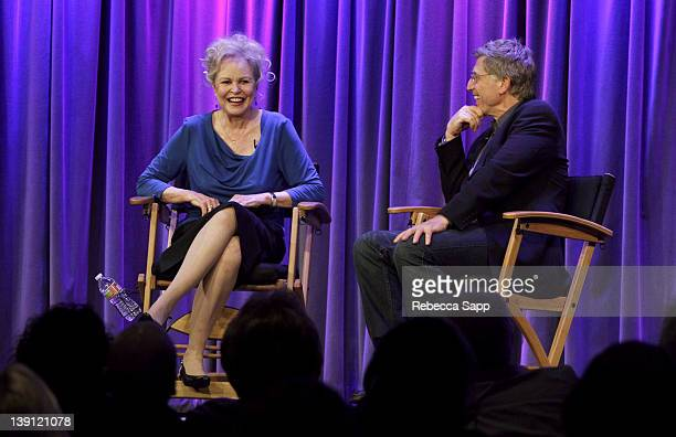 Singer/actress Michelle Phillips speaks with Bob Santelli executive director of the GRAMMY Museum during An Evening With Michelle Phillips From The...