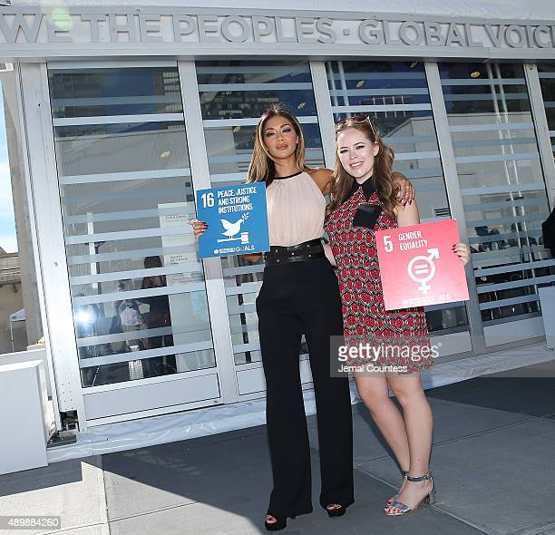 Singer/actress Nicole Scherzinger and blogger Tanya Burr attend the premiere of Global Goals 60 second Cinema Ad at the United Nations on September...