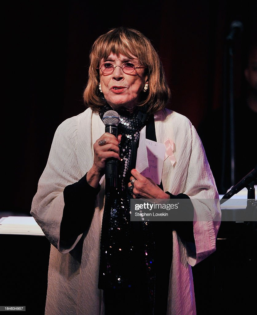 APPLY Singer/actress <a gi-track='captionPersonalityLinkClicked' href=/galleries/search?phrase=Phyllis+Newman&family=editorial&specificpeople=224516 ng-click='$event.stopPropagation()'>Phyllis Newman</a> speaks to the audience at 'The Actors Fund And Tower Cancer Research' benefit concert at Birdland Jazz Club on October 14, 2013 in New York City.