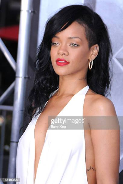 Singer/actress Rihanna arrives at the Los Angeles premiere of 'Battleship' at the Nokia Theatre LA Live on May 10 2012 in Los Angeles California