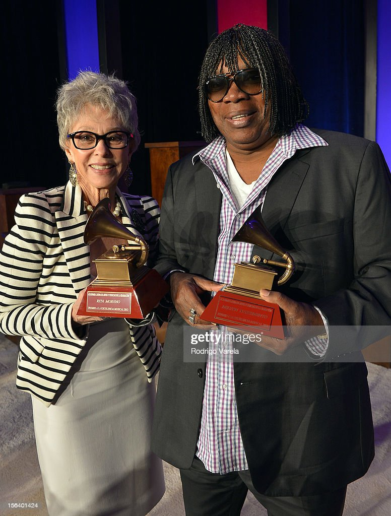 Singer/actress <a gi-track='captionPersonalityLinkClicked' href=/galleries/search?phrase=Rita+Moreno&family=editorial&specificpeople=210549 ng-click='$event.stopPropagation()'>Rita Moreno</a> (L) and singer/songwriter Milton Nascimento attend the 2012 Latin Recording Academy Special Awards during the 13th annual Latin GRAMMY Awards at the Four Seasons Hotel on November 14, 2012 in Las Vegas, Nevada.