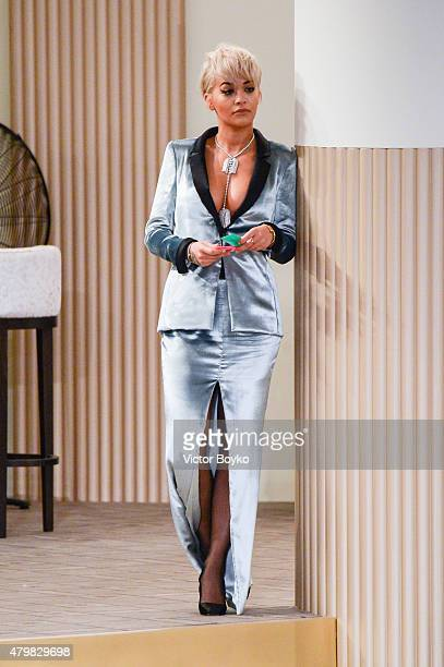 Singer/actress Rita Ora attends the Chanel show as part of Paris Fashion Week Haute Couture Fall/Winter 2015/2016 on July 7 2015 in Paris France