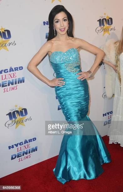 Singer/actress Roxy Darr arrives for the Norby Walters' 27th Annual Night Of 100 Stars Black Tie Dinner Viewing Gala held at The Beverly Hilton Hotel...
